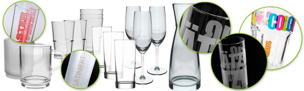 Verschiedene Gläser mit Logo bedruckt